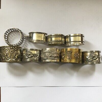 ANTIQUE AND VINTAGE NAPKIN RING COLLECTION x 9