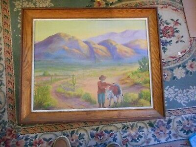 Folk Art Painting on Canvas Of Miner out West Circa 1960's