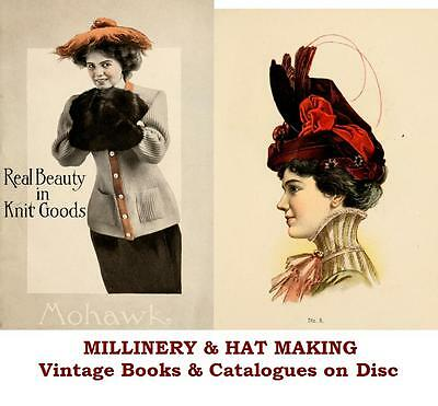 Millinery Hat Making Fashion Hats Vintage Books Catalogues on CD Gift Quality