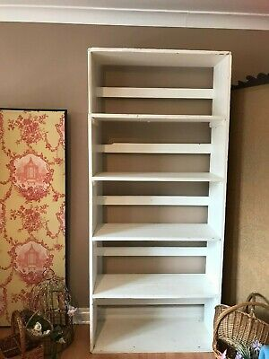 Vintage Rustic Shelves Painted Wood Tall Shelf Unit Shop Fitting Bookcase