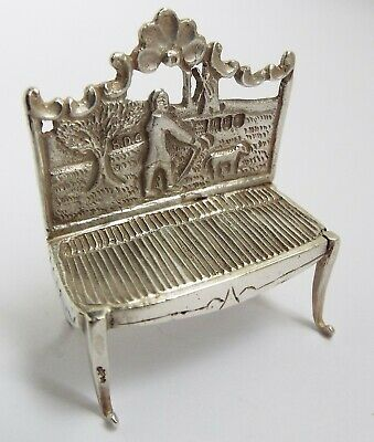 Superb Clean English Antique 1903 Miniature Solid Sterling Silver Parlour Sofa