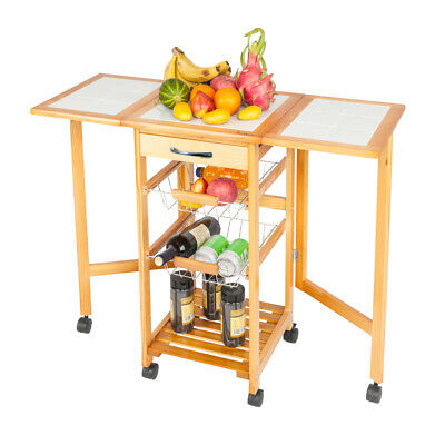 Portable Rolling Drop Leaf Kitchen Storage Island Cart Trolley Folding Table New