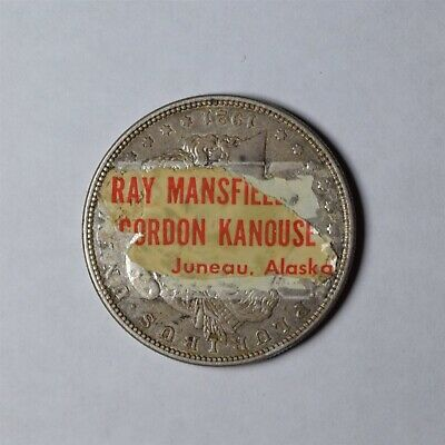 Extremely Rare Red Dog Saloon Juneau Stickered Silver Dollar Mansfield Kanouse