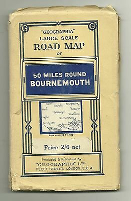 Geographia Large Scale Map of 50 Miles Round Bournemouth