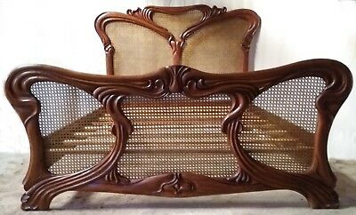 Mahogany and Rattan 5' King Size Carved Art Nouveau Style Bed New Louis