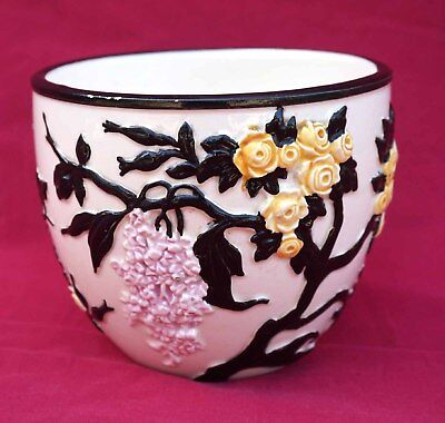 French Art Deco Bloch Jardiniere Flower Pot Hand Painted Faience