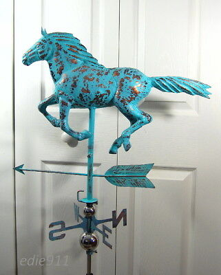 3D RUNNING HORSE Functional Weathervane AGED COPPER PATINA FINISH FULL BODIED
