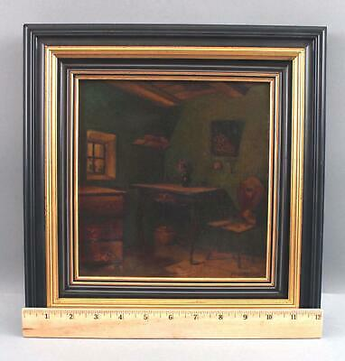 Small Signed Antique circa-1900 Interior Home Oil Painting, NR