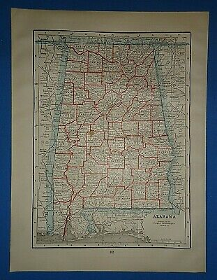 Vintage 1895 ALABAMA Map Old Antique Original Atlas Map 41519