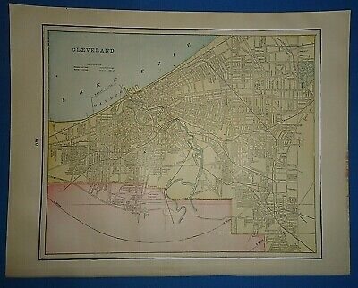 Vintage 1895 CLEVELAND, OHIO Map Old Antique Original Atlas Map 41519-