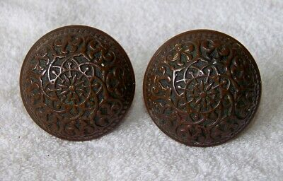 Antique c.1875 Eastlake Style RUSSEL & ERWIN Ornate Brass Door Knob Matching Set