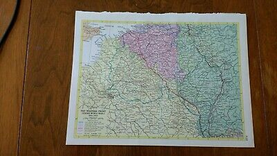 1954 Map of The Western Front During World War I 1914-1918