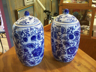 "2X Asian Pattern Blue And White Porcelain Lidded Twin Urns /vases 10"" Each"