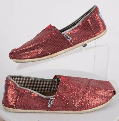 dbf41f9d7d53 TOMS Women's Flats Red Glitter Shoes Classic Size 7.5 Sparkle Ruby Slippers