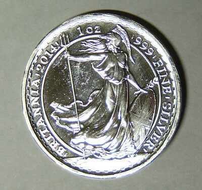 2014 UK Britannia 2 Pounds 1 oz .999 Fine Silver Great Britain (83018)