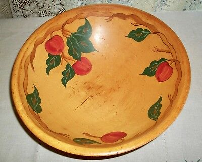 "Hand Painted Wooden Bowl 13"" Apples RIO GRANDE"