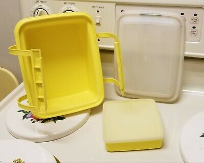 Vintage TUPPERWARE Yellow Pack N Go Lunch Box & Sandwich Container