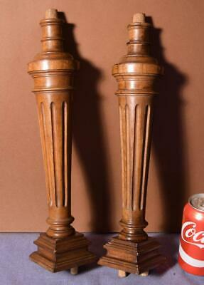 "15"" Pair of French Antique Solid Walnut Wood Posts/Pillars/Columns/Balusters"