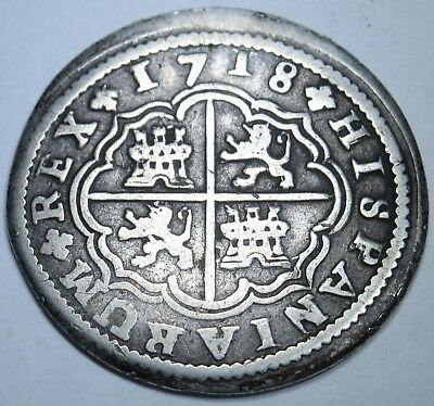 1718 Spanish Silver 2 Reales Piece of 8 Real Colonial Era Two Bits Pirate Coin