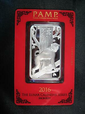 "2016 ~ ""MONKEY"" PAMP SWISS .999 SILVER BAR 1 OZ. SEALED ~ Pamp Suisse"