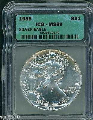 1988 American Silver Eagle ASE S$1 ICG MS69 MS-69 BEAUTIFUL