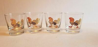 4  Vintage Retro Kitchen Bar Red Black & Gold Rooster Old Fashion Glass Tumblers