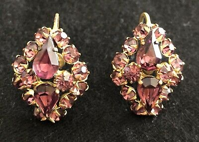 Antique Czech Earrings Purple Faceted Glass Stones Screw-On Beautiful!