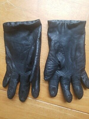 FOWNES Vintage Cashmere Lined Soft Leather  Gloves Sz 8 Black