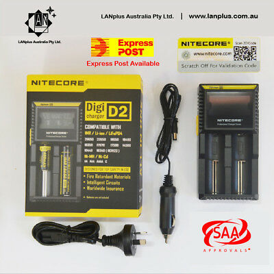 Nitecore D2 Digicharger LCD Smart Battery Charger lifepo4 22650 18350 17670 1044