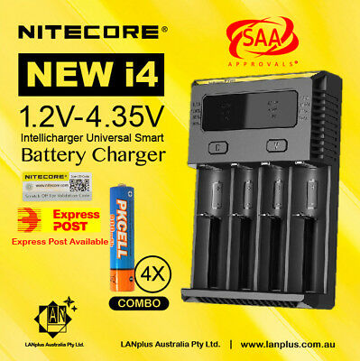 Nitecore new i4 Universal Charger +4X 1.2V 900mAh AAA NI-MH Rechargeable  batter