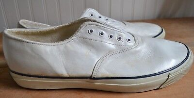7932dd1b814 Vintage Men s Not Worn Keds White Leather Deck Shoes Sneakers 10M