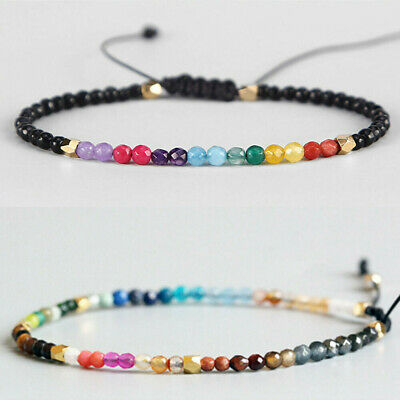 Fashion 12 Constellation Lucky Stone Bracelet 3mm Beads Chakra Boho Bracelets JP