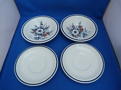 Collectable Set Of Alpine Rose Staffordshire 2 Bowls W15cms 2 Saucers W15cms