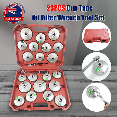 23pcs Cup Type Aluminium Oil Filter Wrench Removal Socket Remover Tool Kit S