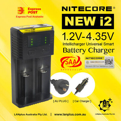 Nitecore New I2 Universal Smart Battery Charger 2 Slots with Car Adapter 18650