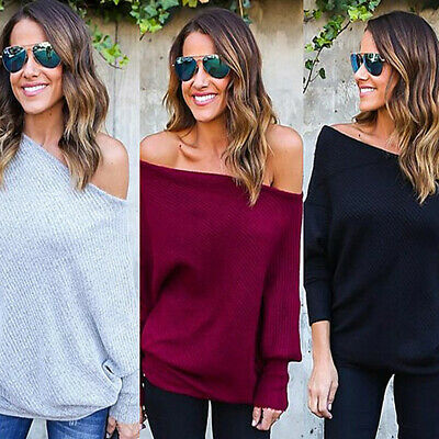 Womens Off Shoulder Baggy Ladies Tops Chunky Knitted Oversized Sweater Jumper