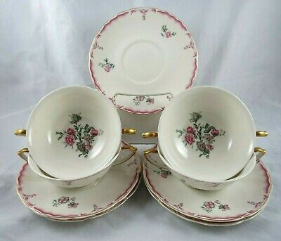 Independence Ironstone IND8 Cream Soup 4 Bowls 5 Saucers Pink Gray Gold Scallop