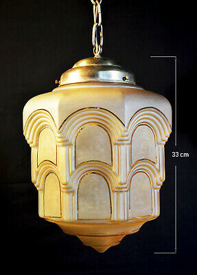French 1940s large art deco three-tier Architectural frosted glass Pendant Light