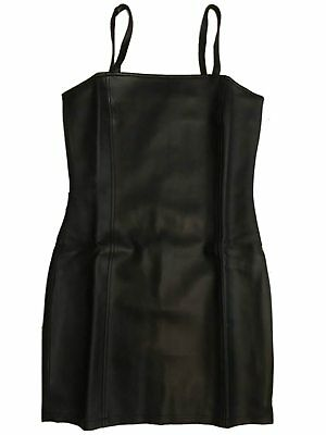 Ladies Black Faux Leather PVC Short Dress Thick quality material lined Strappy