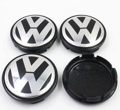 4pcs 56mm Car Wheel Center Hub Caps Cover Badge Emblem For Volkswagen VW, Black