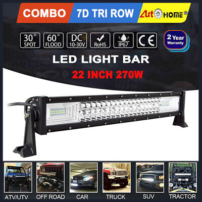 22 inch 270W LED Work Light Bar Tri-row Combo Spot Flood Car Driving Lamp 21/24""