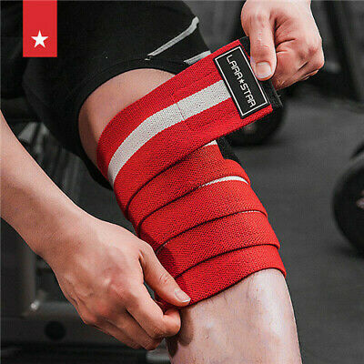 aa195fd26a Cotton Weight lifting Knee Wraps Bandage Gym Powerlifting Support Sleeves  Straps