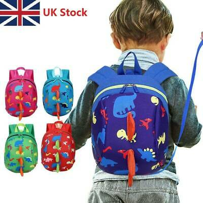 UK Cartoon Baby Toddler Kids Dinosaur Safety Harness Strap Bag Backpack w/ Reins