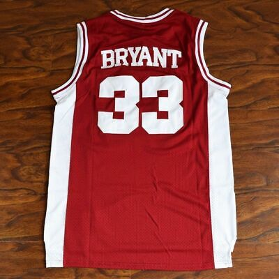 91ed20771 Kobe Bryant  33 Lower Merion High School Basketball Jersey Stitched White  RED