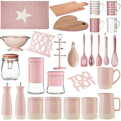 Pink Kitchen Accessories Utensils Canisters Jars Storage Mugs Serving Boards New