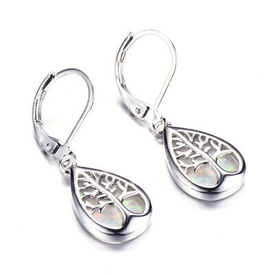 Fashion Silver life Tree Filled White Fire Opal Hoop Earring Bridal Wedding Gift