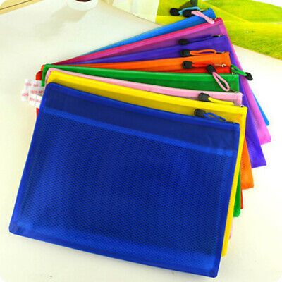 A4 Zip Holder Bag Document Storage Wallet Mesh School File Folder Paper Archive