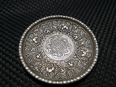 CHINEA FOLK old Carved Tibetan silver plate writing-brush washer ornaments A
