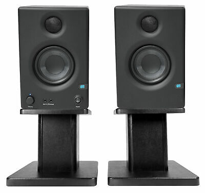 "Pair Presonus Eris E3.5 3.5"" Powered Studio Monitors Speakers+Wood Desk Stands"