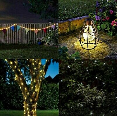 Solar Coloured Bunting String Firefly LED Lights Outdoor Garden Party Decoration